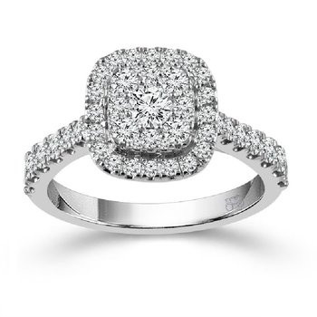 1ct tw Diamond Thousand Points of Light Engagement Ring in 10K White Gold