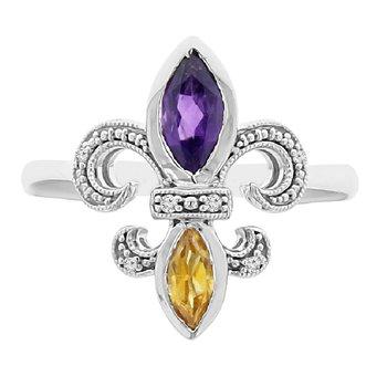 .03ct tw Diamond, Amethyst, & Citrine Fleur de Lis Ring in Sterling Silver