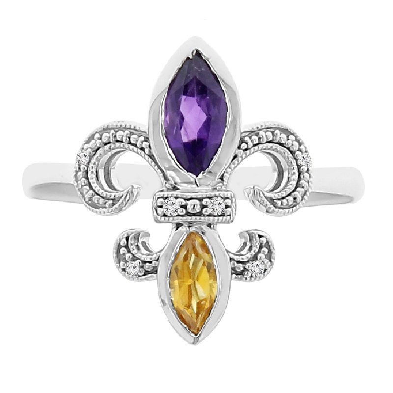 .03ct tw Diamond, Amethyst, & Citrine Fleur de Lis Ring in Sterling Silver