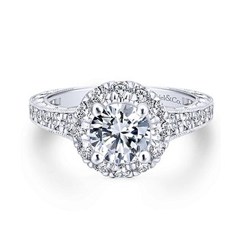 1ct tw Diamond Halo Engagement Ring Setting in 14K White & Rose Gold