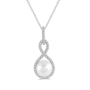 1/8ct tw Diamond & Pearl Necklace in 10K White Gold