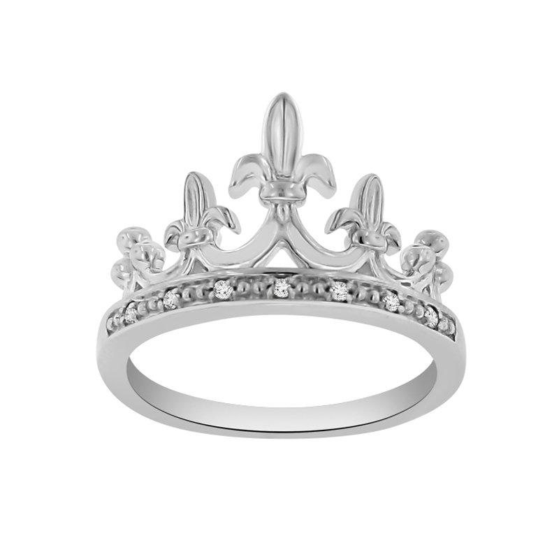 .04ct tw Diamond Mardi Gras Crown Ring in Sterling Silver