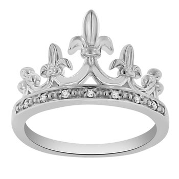 .04ct tw Diamond Mardi Gras Crown Ring in Sterling Silver