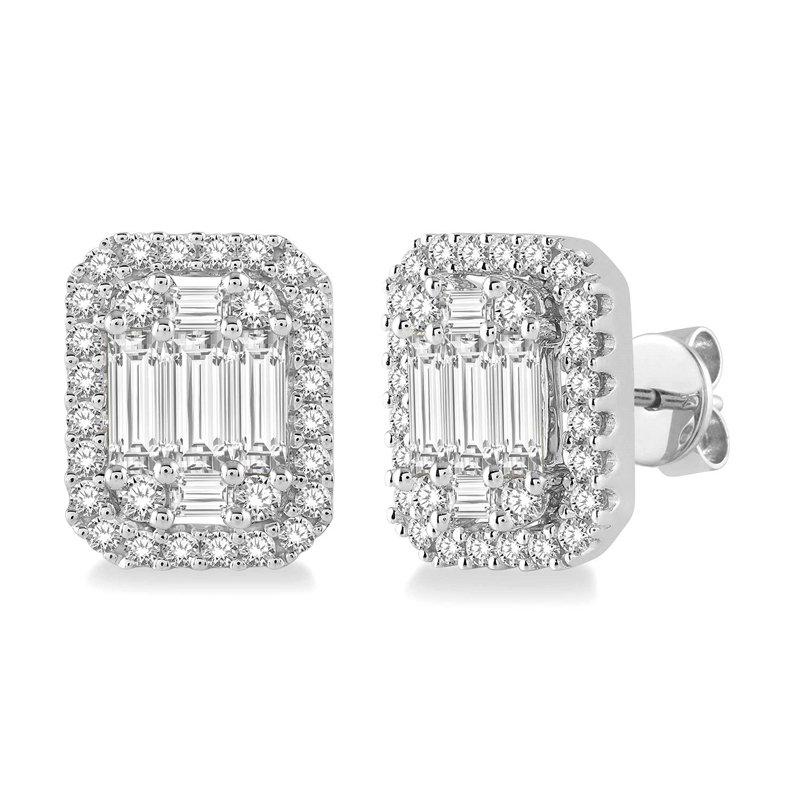 5/8ct tw Diamond Halo Stud Earrings in 14K White Gold