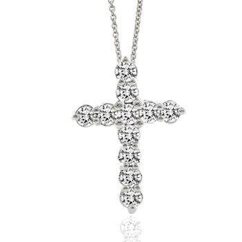 1ct tw Diamond Cross Necklace in Sterling Silver & Platinum