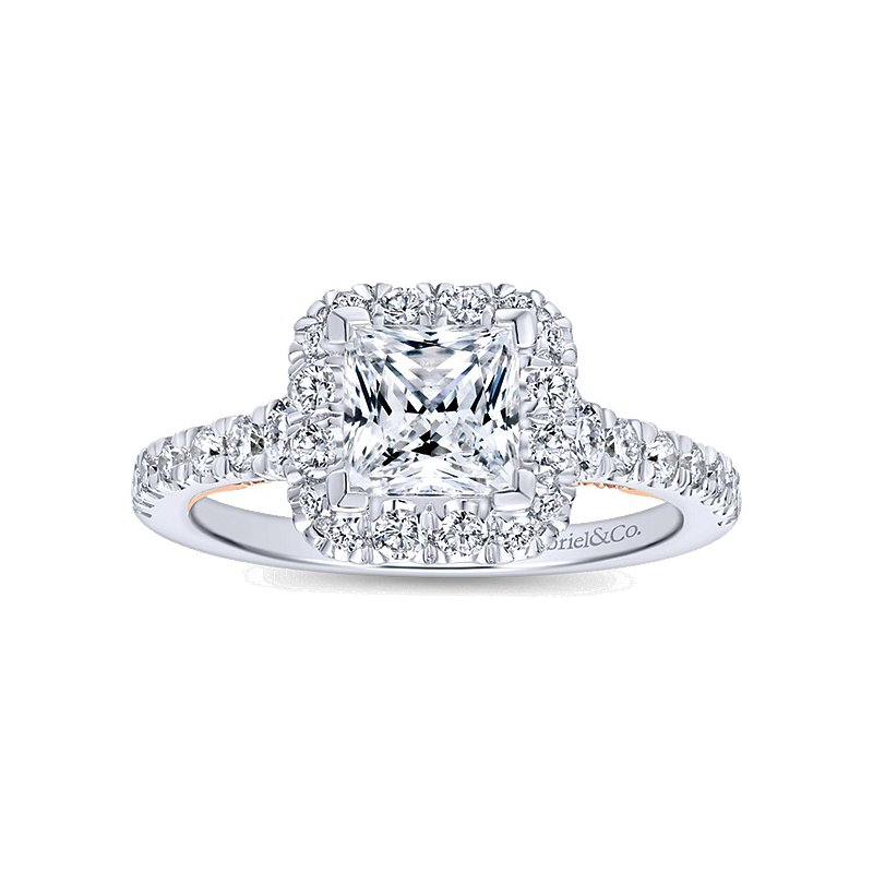 3/4ct tw Diamond Halo Engagement Ring Setting in 14K White & Rose Gold