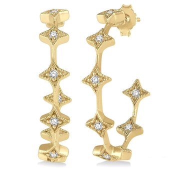 1/5ct tw Diamond Hoop Earrings in 14K Yellow Gold