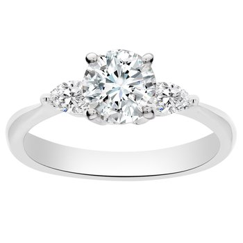 1ct tw Diamond Three Stone Engagement Ring in 18K White Gold
