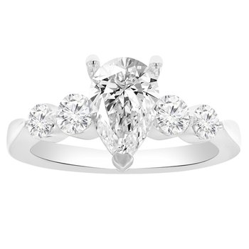 1/2ct tw Diamond Engagement Ring Setting in 14K White Gold