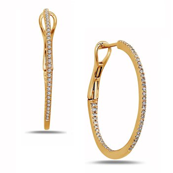 1/3ct tw Diamond Hoop Earrings in 14K Yellow Gold