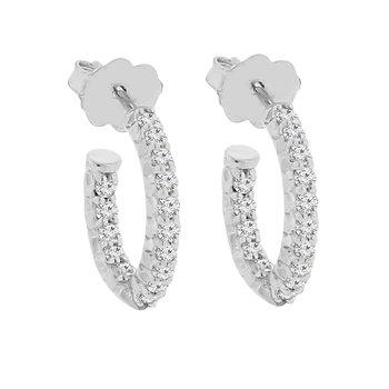 1/2ct tw Diamond Hoop Earrings in Sterling Silver & Platinum