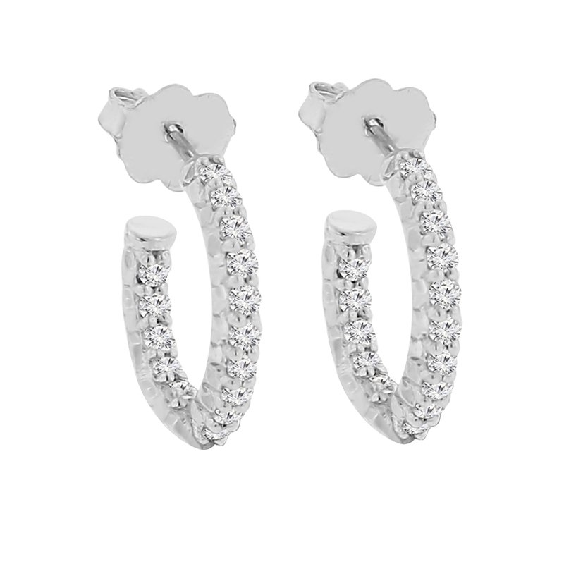 1/2ct tw Diamond Hoop Earrings in Sterling Silver & Platinum