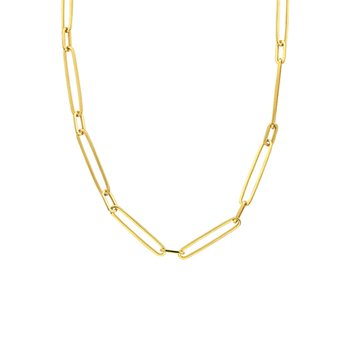 20 Inch Paperclip Chain Necklace in 14K Yellow Gold