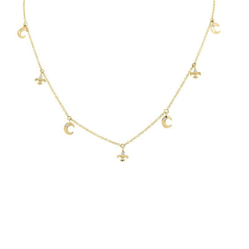 1/8ct tw Diamond Nola Collection Crescent Moon & Fleur De Lis Necklace in 10K Yellow Gold
