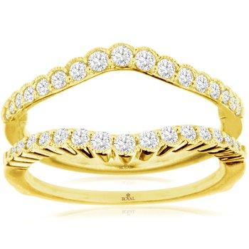 1/2ct tw Diamond Wedding Ring Guard in 14K Yellow Gold