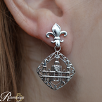 .01ct tw Diamond Nola Collection Cathedral Earrings in Sterling Silver