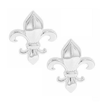 Fleur De Lis Fashion Earrings in Sterling Silver