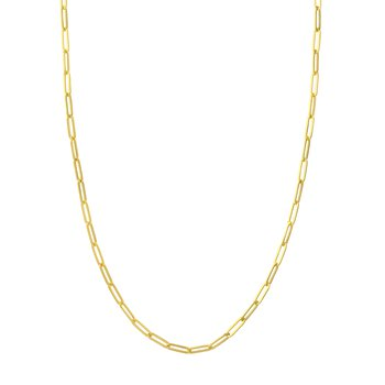 8 Inch Hollow Paperclip Chain Bracelet in 14K Yellow Gold