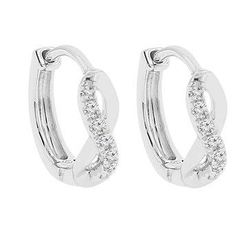 1/10ct tw Diamond Hoop Earrings in 14K White Gold