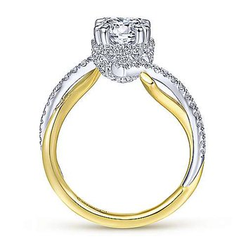 1/2ct tw Diamond Engagement Ring Setting in 14K White & Yellow Gold