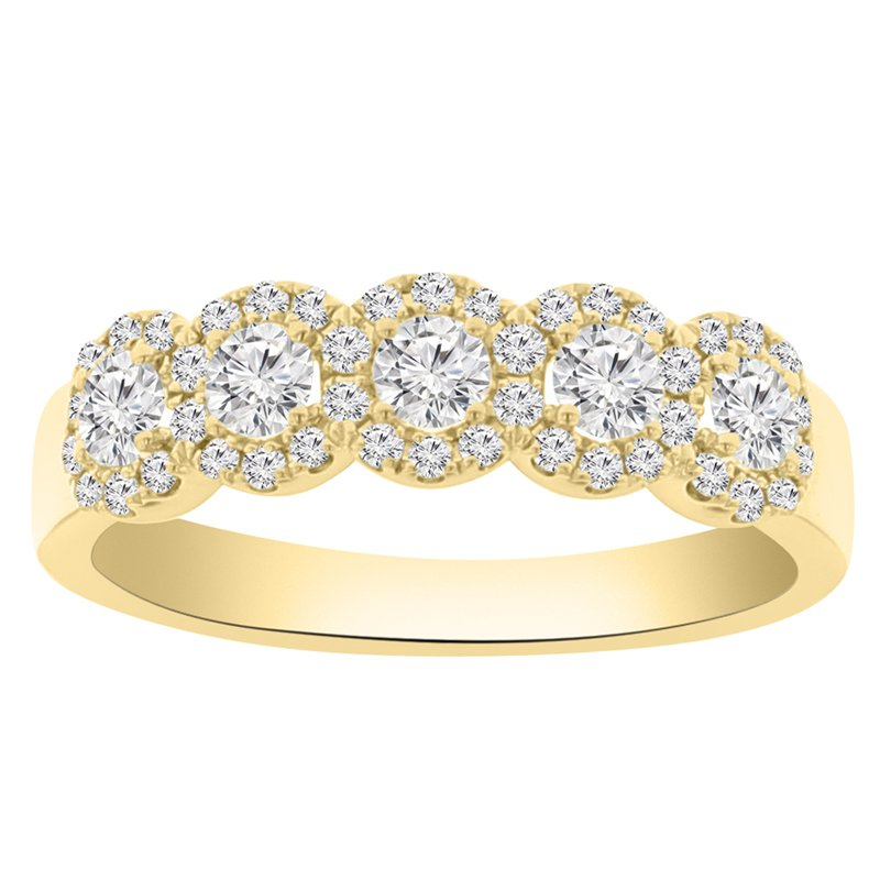 3/4ct tw Diamond Stackable Halo Ring in 14K Yellow Gold