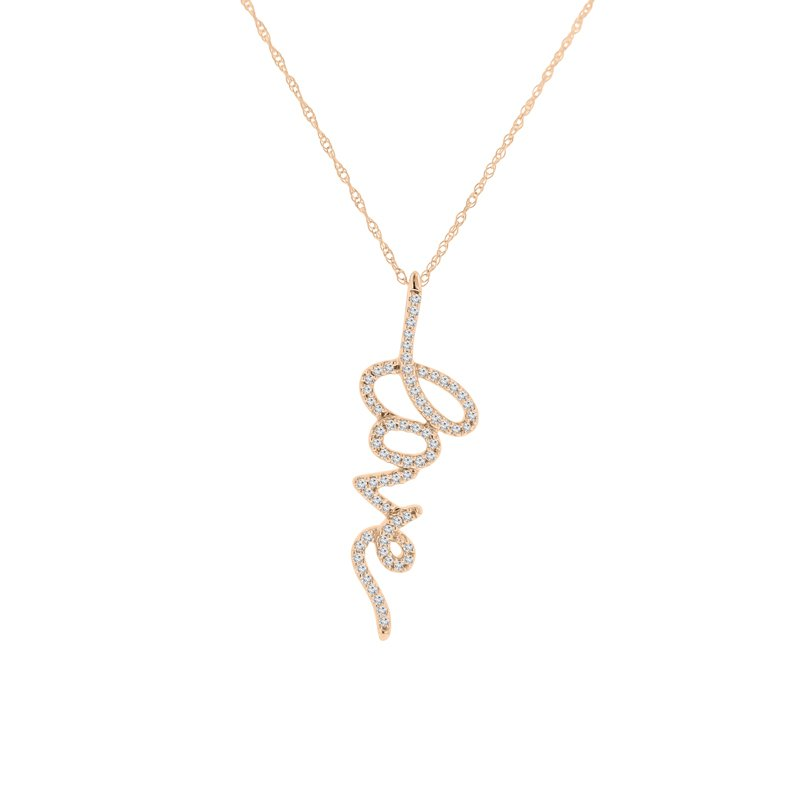1/5ct tw Diamond Love Pendant in 14K Rose Gold