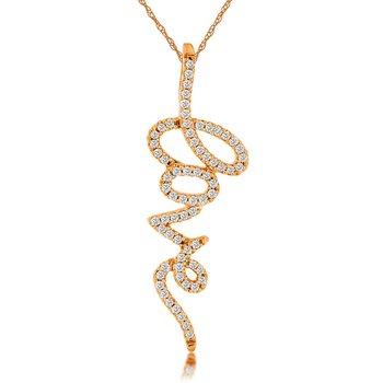 1/5ct tw Diamond Love Pendant in 14K Rose Gold