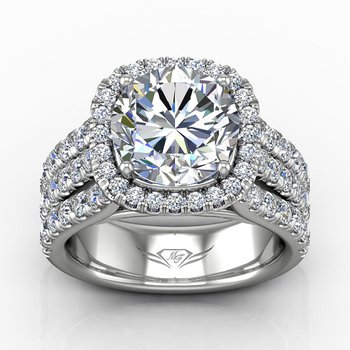 5 1/4ct tw Diamond Halo Engagement Ring in 14K White Gold