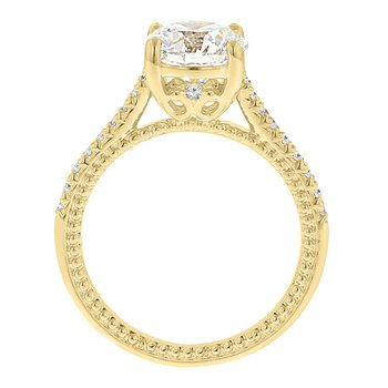 2ct tw Diamond Fleur De Lis Engagement Ring in 14K Yellow Gold