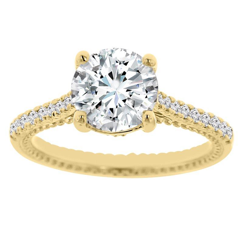 2ct tw Diamond Fleur De Lis Engagement Ring in 14K Yellow Gold
