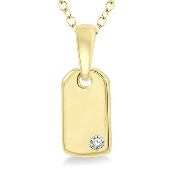 .02ct tw Diamond Fashion Dog Tag Necklace in 10K Yellow Gold