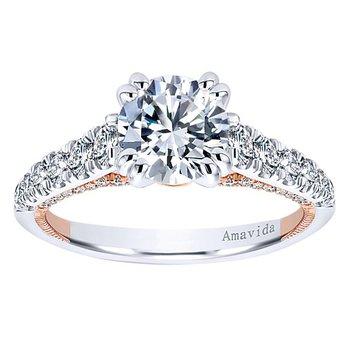 1/2ct tw Diamond Engagement Ring Setting in 18K White & Rose Gold