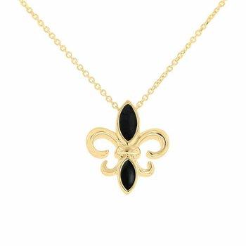 Fleur De Lis Necklace in 10K Yellow Gold & Black Enamel