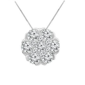 2ct tw NewBorn Lab Created Diamond Thousand Points of Light Necklace in 14K White Gold