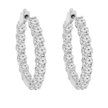6ct tw Diamond Hoop Earrings in 14K White Gold