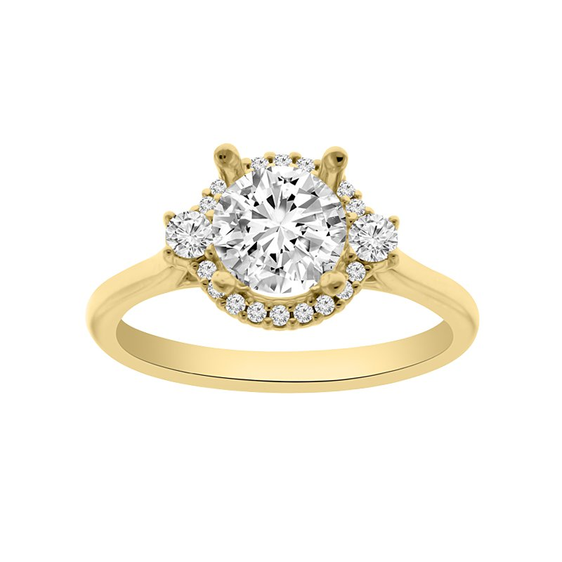 1/5ct tw Diamond Halo Engagement Ring Setting in 14K Yellow Gold