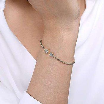 1/10ct tw Diamond Bujukan Bangle Bracelet in 14K Yellow Gold