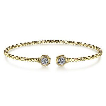 1/10ct tw Diamond Bujukan Bangle Bracelet in 14K Yellow Gold