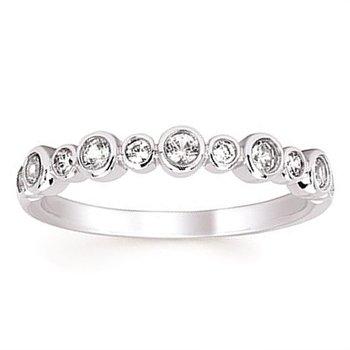 1/10ct tw Diamond & Created White Sapphire Birthstone Ring in 14K White Gold