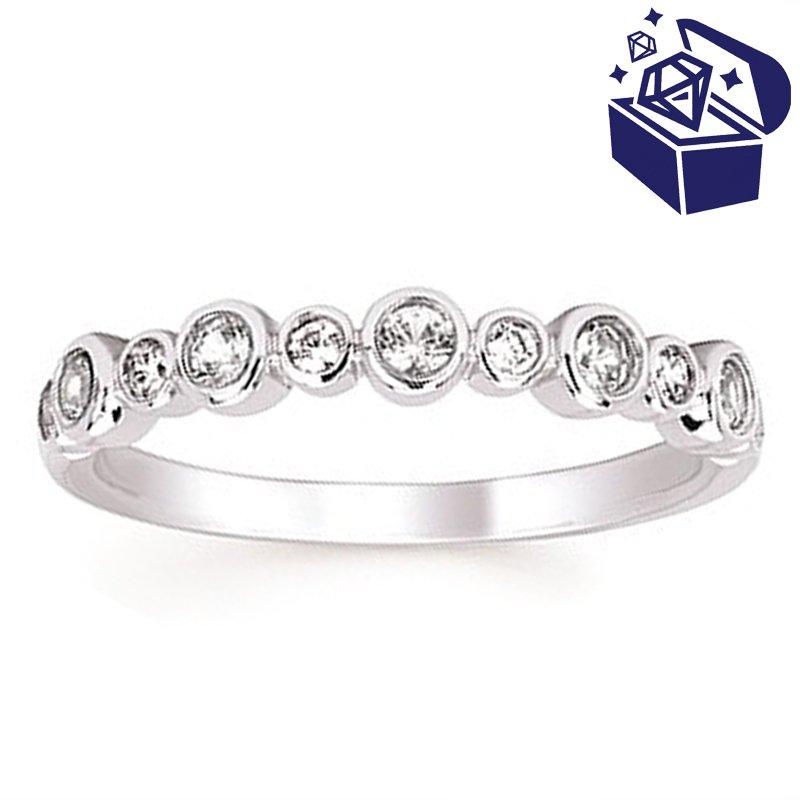 Treasure Hunt Value 1/10ct tw Diamond & Created White Sapphire Birthstone Ring in 14K White Gold
