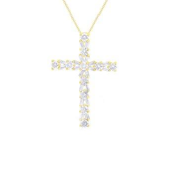 1ct tw Diamond Cross Necklace in 14K Yellow Gold