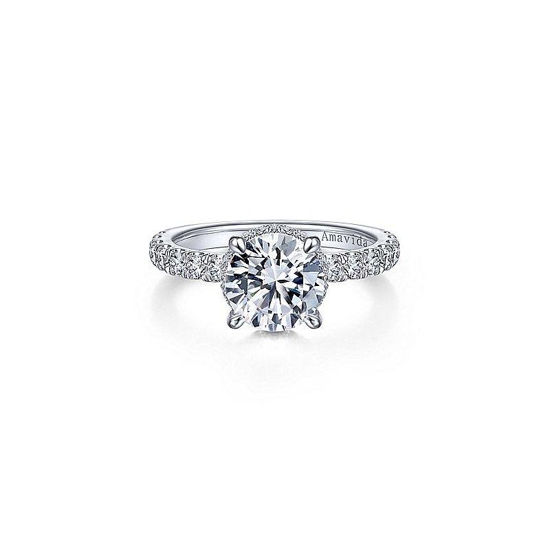 3/4ct tw Diamond Engagement Ring Setting in 18K White Gold