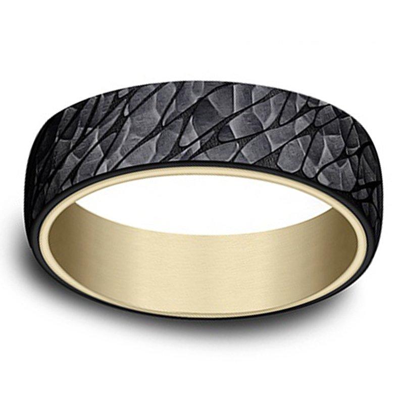 6.5mm Wedding Ring in 14K Yellow Gold & Black Titanium