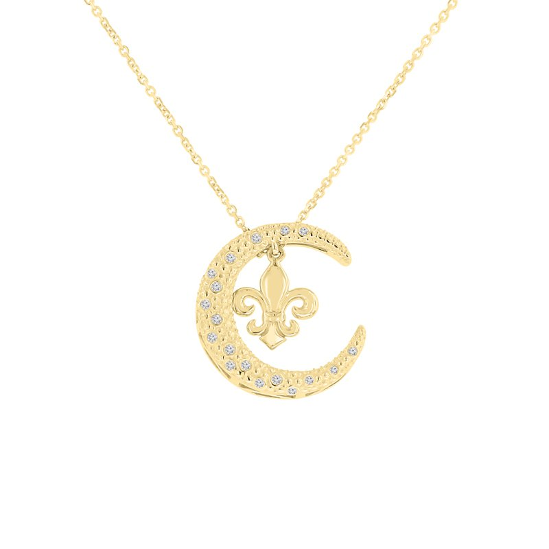 1/14ct tw Diamond Nola Collection Crescent Moon & Fleur De Lis Necklace in 10K Yellow Gold