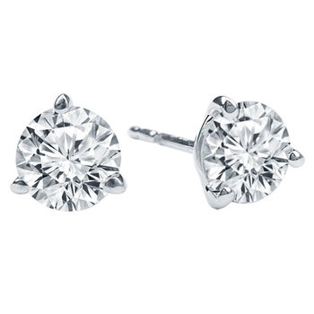 2ct tw NewBorn Lab Created Diamond Solitaire Stud Earrings in 14K White Gold