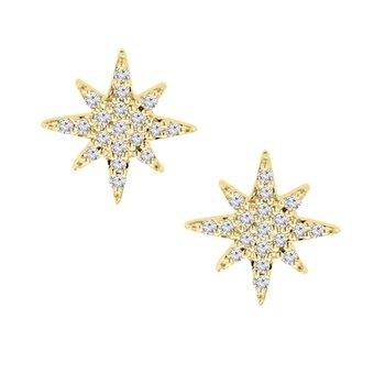 1/10ct tw Diamond Starburst Stud Earrings in 10K Yellow Gold