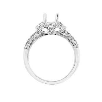 3/4ct tw Diamond Three Stone Engagement Ring Setting in 14K White Gold