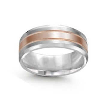 8mm Wedding Ring in 14K White & Rose Gold
