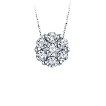 1/3ct tw Diamond Bouquet Necklace in 14K White Gold