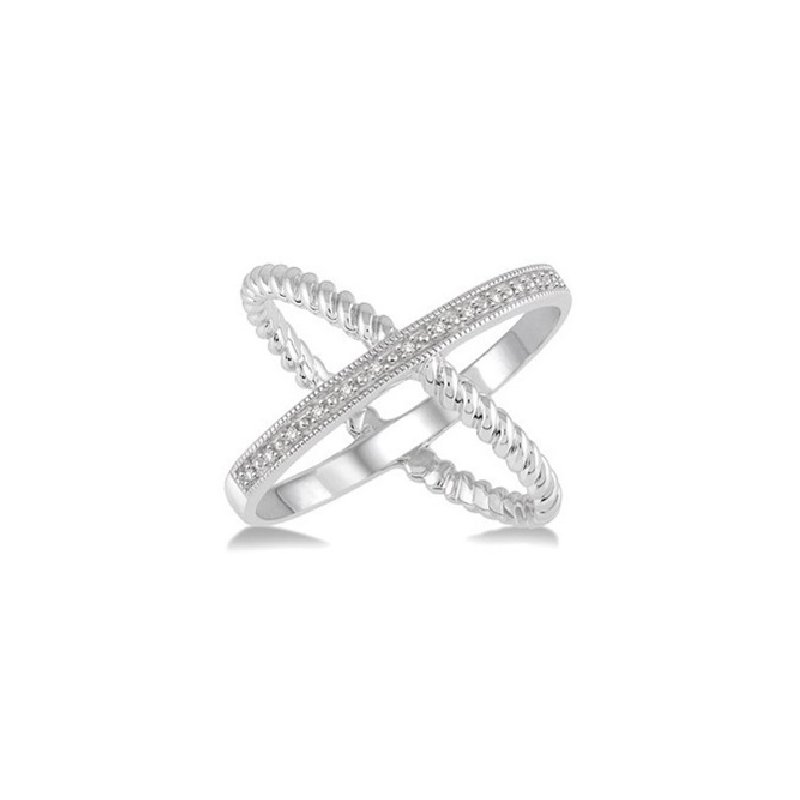 .05ct tw Diamond  X  Fashion Ring in Sterling Silver